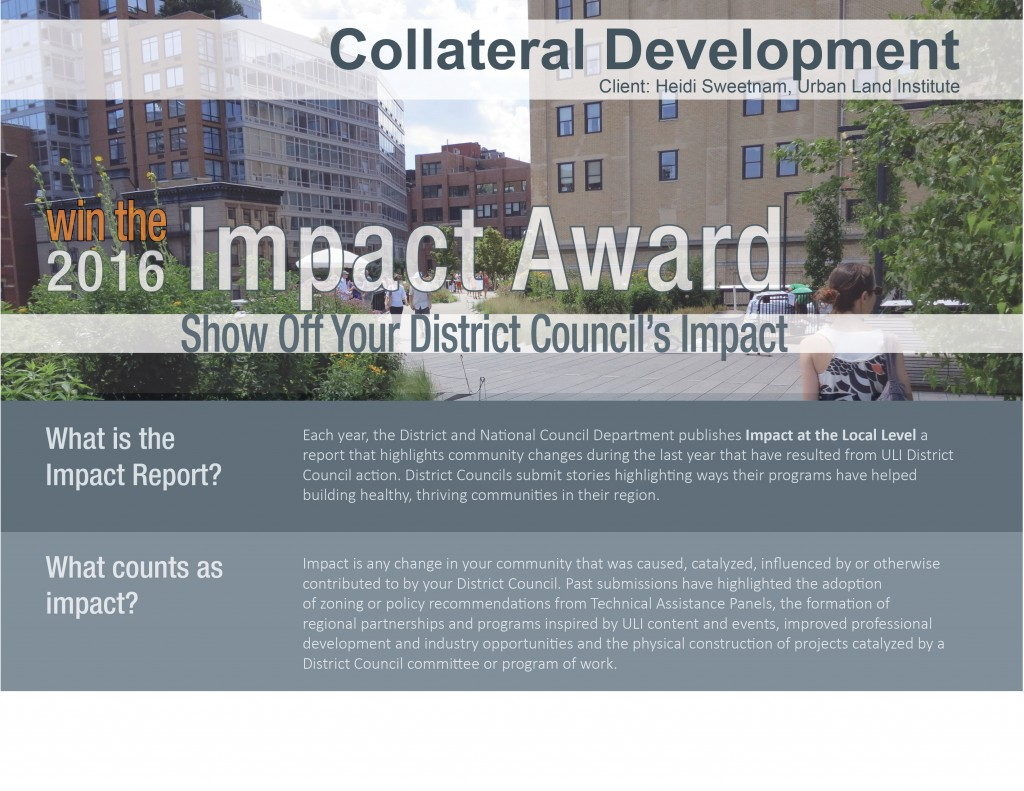 Collateral design and development for Urban Land Institute
